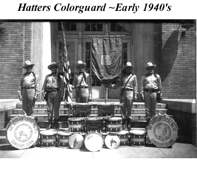 Hat Makers Drum Corps Color Guard ~ Early 1940's